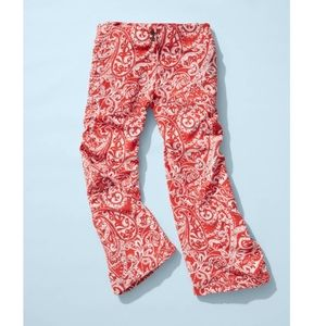 LOFT red and white paisley wide leg cropped pants